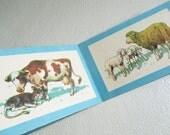Vintage french children's book depicting farm animals, Cardboard book, 1945, France