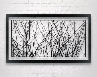 Tree Branches Art, Original Paper Cut Out, Interior Design, Large Wall Artwork, Home Deco Wall Hanging, Modern Wall art, Minimalist wall art