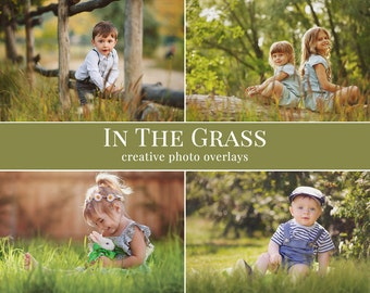 """Grass photo overlays """"In the Grass"""",  shooting through the grass photo overlays, digital photo overlays for Photoshop"""
