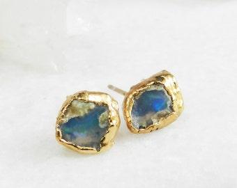 fire opal earrings, raw fire opal, fire opal studs, gold earrings, gold studs, gold dipped jewelry, fire opal, raw gemstone jewelry