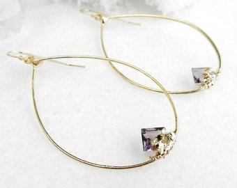 amethyst earrings, amethyst hoop earrings, gold earrings, gold hoops, druzy earrings, druzy hoops, valentine's day, february birthstone