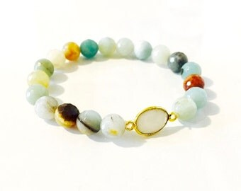 Faceted Amazonite and Moonstone Gem Bracelet
