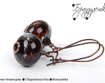 Tiger - Earrings with lampwork beads copper Tiger stripes