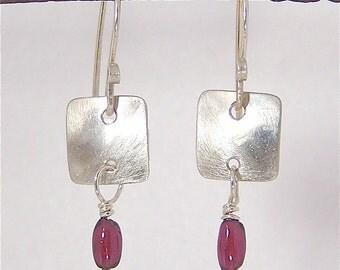Silver Earrings with Garnet Gemstones