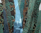 one inch wide leather strips - mix of browns, blues and turquoise - 36 pieces