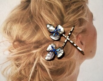 Decorative Hair Pins Jewelry 1940 1950 Blue Bridal Molded Art Glass Leaf Bobby Pins West Germany Jewelry