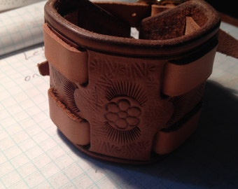 Wrist cuff. Tooled. Handmade.