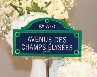 Customizable Paris Street Sign Table Numbers