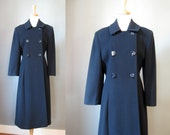 Navy Blue Wool Coat / Vtg...