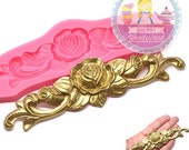 Rose Flourish Bar Floral Scroll Ornate Silicone Mold 757m Fondant Gum paste Polymer Clay fimo Cookie topping Chocolate Melts BEST QUALITY