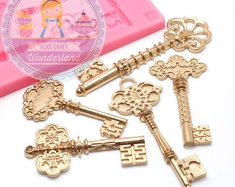 Victorian Key Set Mold 480L Silicone Mold Cupcake Topping Fondant Mold Sugar Cookie mold fimo clay mold BEST QUALITY