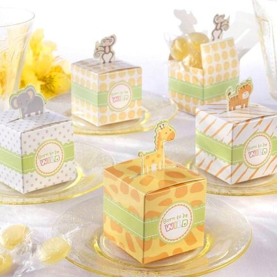 Baby Shower Girl Animal Theme ~ Jungle themed baby shower favor boxes safari