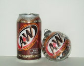 Set of 3 Repurposed A&W Root Beer Clear Glass Filled Ornaments