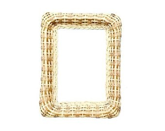 Vintage 70s Woven Rectangle Wicker Wall Mirror
