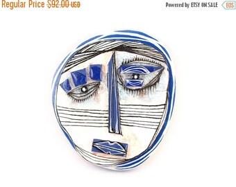 Sad Face, Modern Ceramic Sculpture, 3D sculpture, Art mask, Blue and white sculpture, Abstract art sculpture, Wall art ceramics
