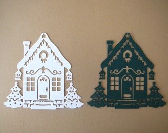 House Die Cut ~ Scrapbook & Christmas Card Front Embellishment