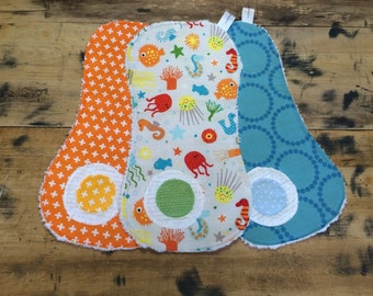 Baby Burp Cloths // Burp Rags // Set of 3 Ocean Friends Burp Cloths for Baby and Toddler
