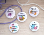 Crochet Badge Set - Set of 5 - Crochet Gift - Crochet Badge - Crochet Buttons - Crochet Humour - Crochet Pin - Pin Badge -