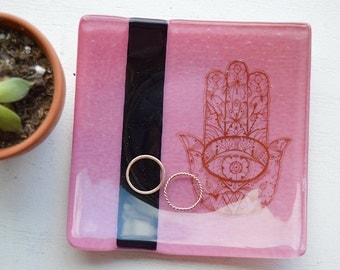 Pink Hamsa Fused Glass Dish/Plate