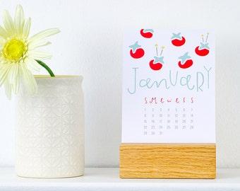 2017 sewing calendar - desk calendar with wood stand