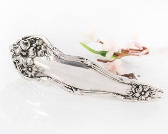 Vintage Spoon Hair Barrette - Arbutus Silverware Barrette - Silverware Hair Barrette - Spoon Hair Barrette - Silverware Jewelry (mcf H002)