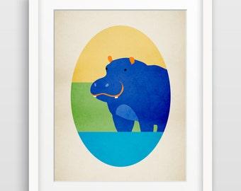 Safari Nursery Decor, Hippo Art Print, Alphabet Art, Zoo Animal Nursery Art, Hippopotamus