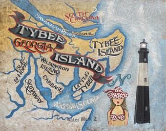 Tybee Island Georgia  beach   Map  - Print , art