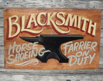 Blacksmith Trade Sign, hand painted, original  sign, art Z M B2