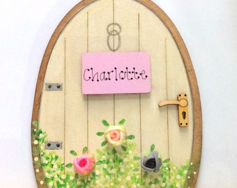Handpainted Personalised Fairy Door Elves Pixies Skirting Board Decor Tooth Fairy Christening Gift