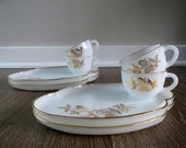 60% OFF 8 Piece Gold Clover Milk Glass Snack Set  by the Federal Glass Company