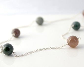 Fancy Jasper Long Sterling Silver Necklace / Simple Modern Jewelry / Long Necklace / Natural Stone / Pink, Mauve, Green, Gold, Bronze, Brown