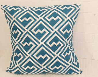 "17x17"" Turquoise and White Diamond Zig-Zag Pillow Cover"