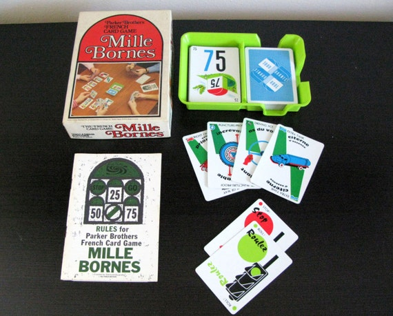 vintage 1971 mille bornes french car racing card game a. Black Bedroom Furniture Sets. Home Design Ideas