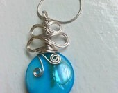Big blue wire wrapped pendant