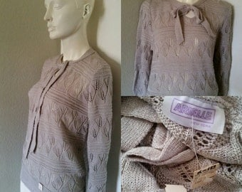 Vintage 80s 90s NWOT Arielle pointelle sweater Pullover keyhole prep nerd geek hipster palest lilac grey shirt oversized slouchy or longer L