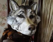 Halloween mask  Wolf mask mask Paper mache mask Wolf head Animal mask Masquerade mask