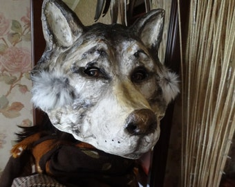 Halloween mask  Wolf mask mask Paper mache mask Wolf head Animal mask Masquerade mask