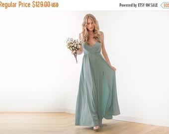 Sage green straps wrap dress, Sage green bridesmaids dress with a slit
