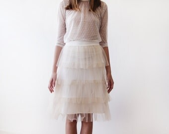 Champagne Tulle layers mini skirt, Mini champagne bridesmaids tulle skirt