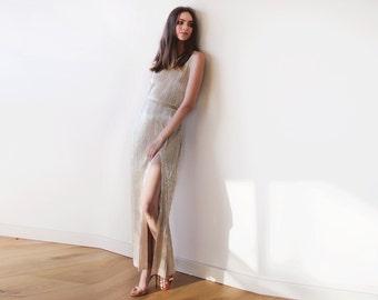 Metallic Gold pleated maxi dress, Gold maxi sleeveless gown, Glamorous party dress