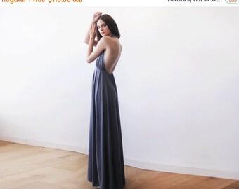 Halter neck grey maxi gown, Backless maxi grey dress, Bridesmaids grey dress