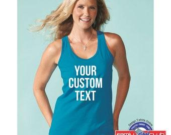 Racerback Tank Top w/ your custom printed text.  Custom Print Tank Top | Custom Text Tank Top | Custom Print Clothing