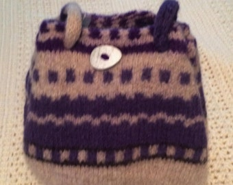 Purple and white felted wool knit purse