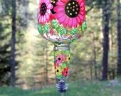 Hand Painted Bold Pink Flower Hummingbird Feeder with Flower Feeding Tube