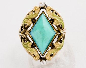 Antique Ring - Antique Art Nouveau 14k Rose Gold Turquoise and Enamel Ring