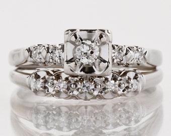 Vintage Wedding Set - Vintage 1940's 14k White Gold Diamond Wedding Set