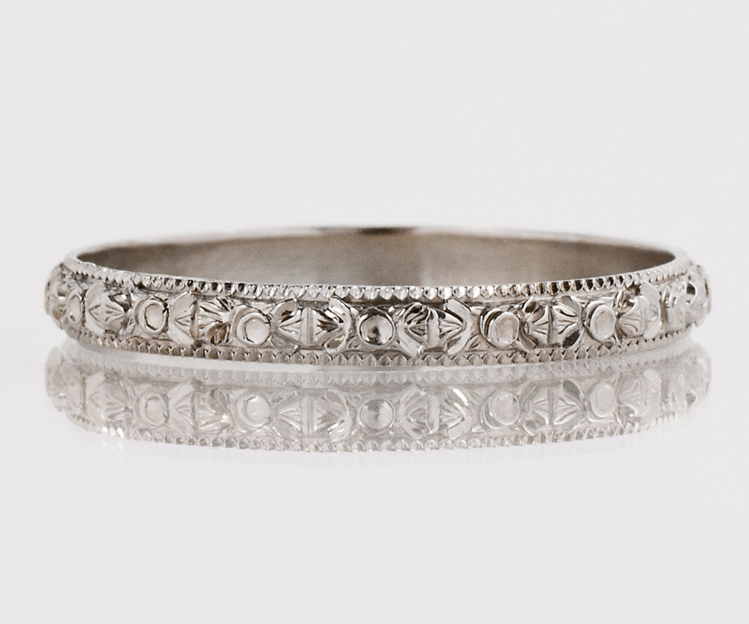 Antique Wedding Bands: Antique Wedding Band Antique 18k White Gold Etched Wedding