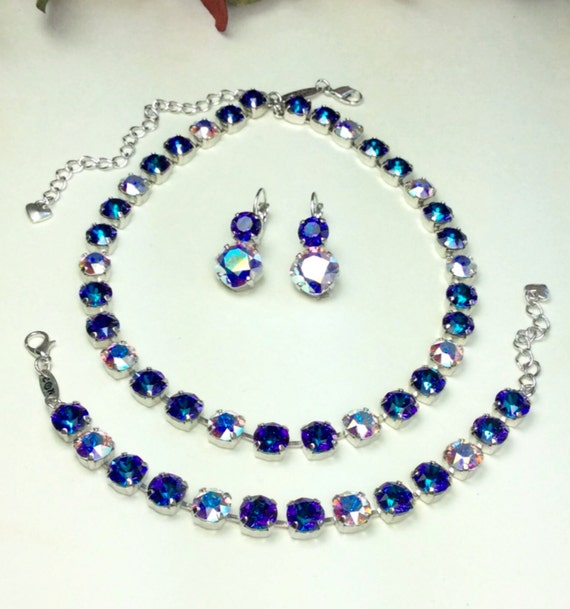 "Swarovski Crystal 8.5mm Necklace - Designer Inspired - "" Royal Jewels ""   Heliotrope With Aurora Borealis Accents - Stunning - FREE SHIPPING"