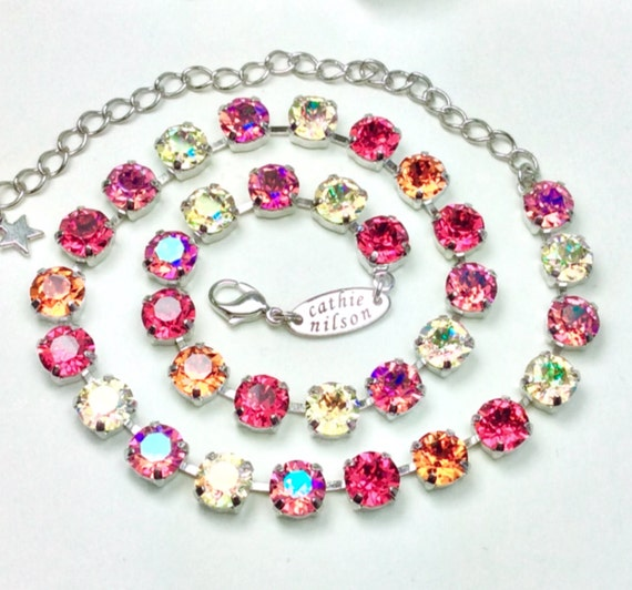 "Swarovski Crystal 8.5mm Necklace  - Designer Inspired- ""Tequila Sunrise""  Indian Pink,Jonquil AB, Rose Glacier Blue,Tangerine -FREE SHIPPING"