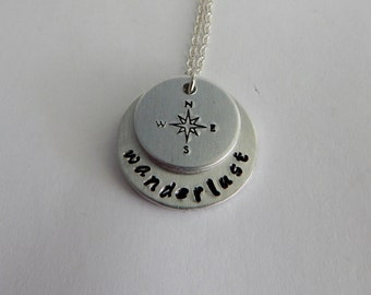 wanderlust Hand Stamped Necklace with Compass Charm - Traveler - Explore - Adventure - Inspirational - Wanderer  - Graduation Gift